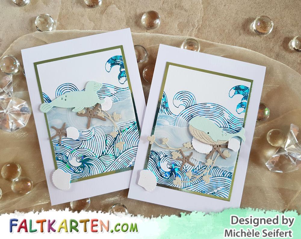 Simply Graphic - Phoque - Baleine - Branche Fleurie - 4enScrap - Corail + Cie - Memory Box - Seaside Treasures - Couture Creations - Hotfoil - Swirling Seas - Cyan Iridescent Triangular Pattern Foil - Grußkarte - Maritim