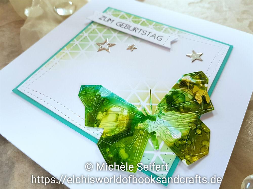 Sizzix - Tim Holtz - Geo Springtime - Butterfly - Alcohol Inks - Schmetterling - Distress Oxide - Geburtstagskarte