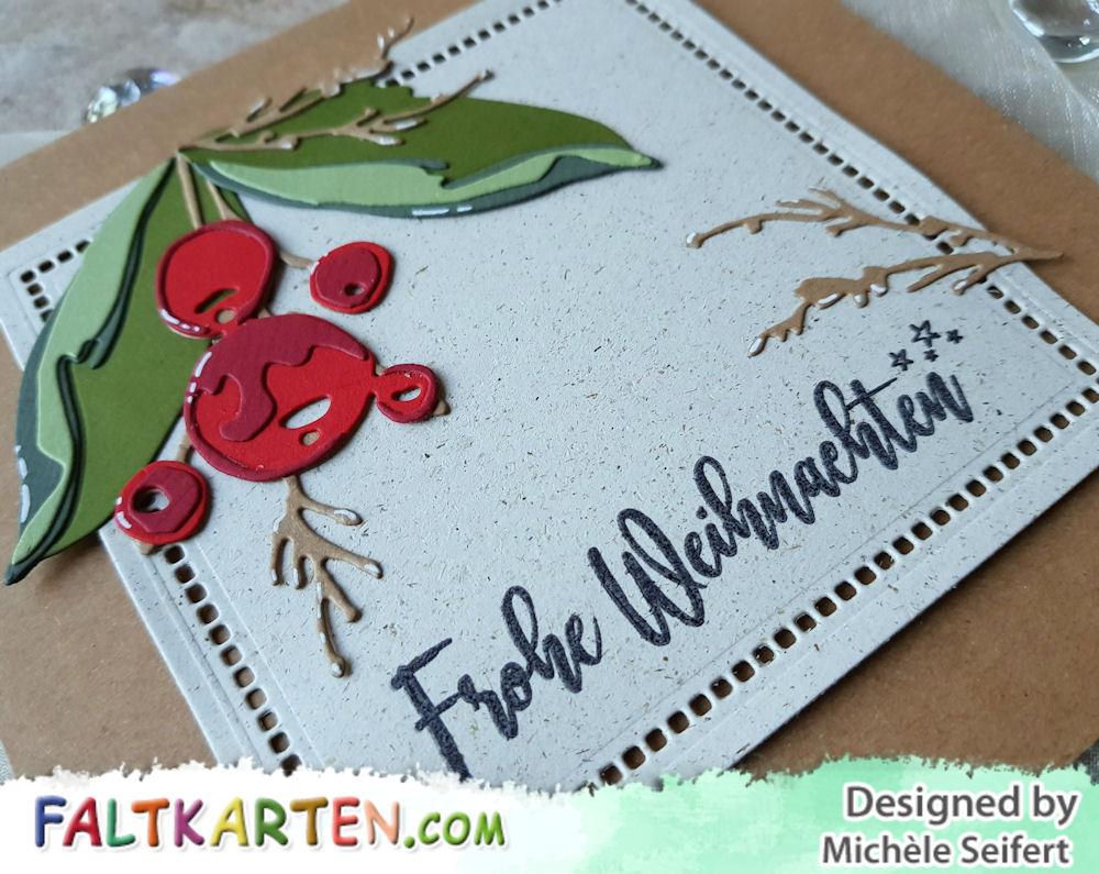 Sizzix - Tim Holtz - Holiday Brushstroke - Papierstücke - Weihnachtssterne - Weihnachtskarte - Christmas Card