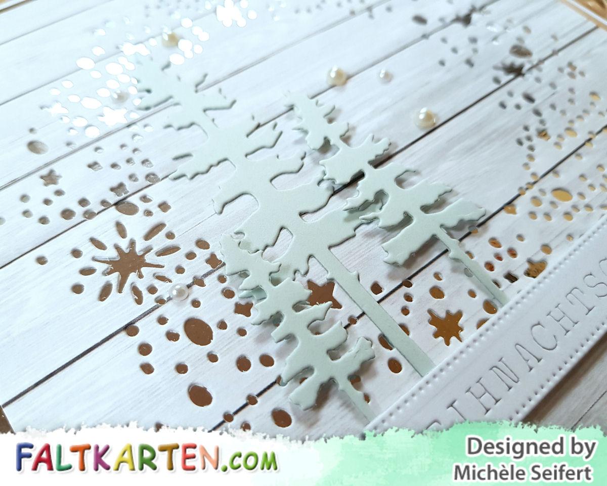 Sizzix - Snowy Stars - Schneesterne - 4enScrap - Mon Beau Sapin - Charlie und Paulchen - Grußtexte Weihnachtlich - Banner Pünktchenrand - Faltkarten.com - Weihnachtskarte - Christmascard