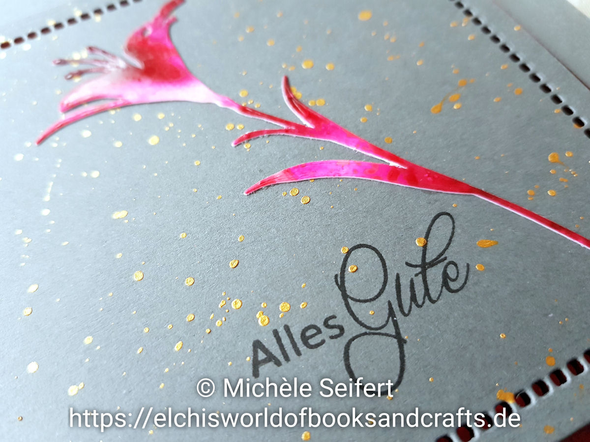 Sizzix - Tim Holtz - Wildflower Stems - Alcohol Inks - Cranberry - Flamingo - Shell Pink - Steckenpferdchen - Alles Gute - Coliro Pearlcolors - Tibet Gold - Grußkarte