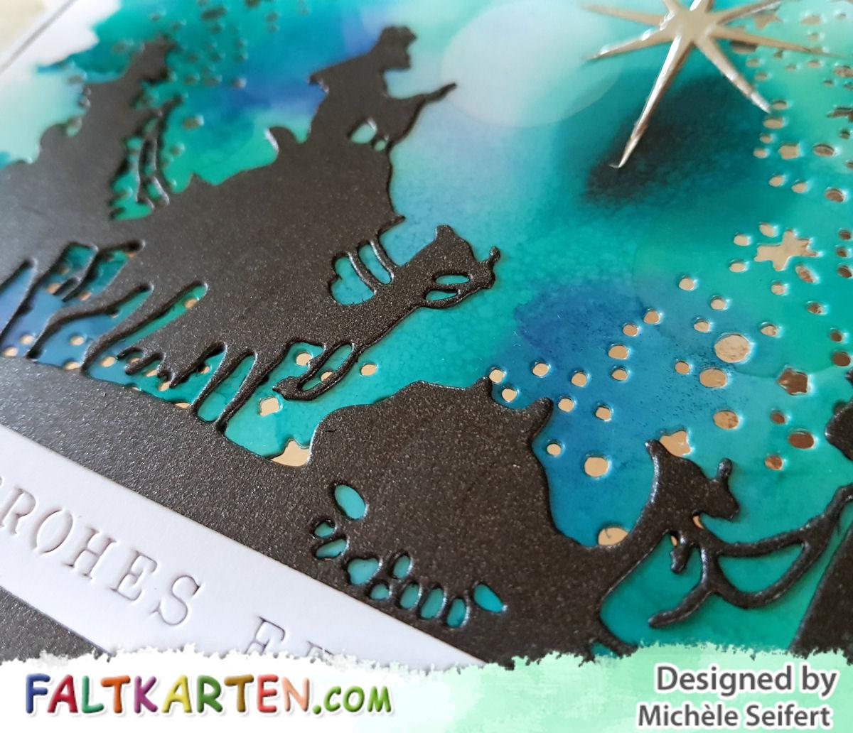 Sizzix - Tim Holtz - Wise Men - 3 Könige - Snowy Stars - Schneesterne - Alcohol Inks - Faltkarten.com - Keramikpapier - Weihnachtskarte