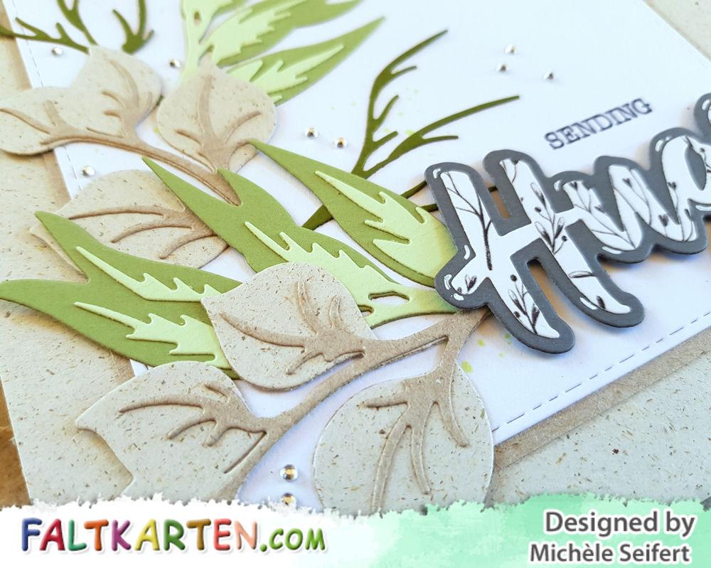 Spellbinders - Layered Foliage - Hugs Expressions - Faltkarten.com - Graskarton - Design-Papier - Romantic Garden - Grusskarte