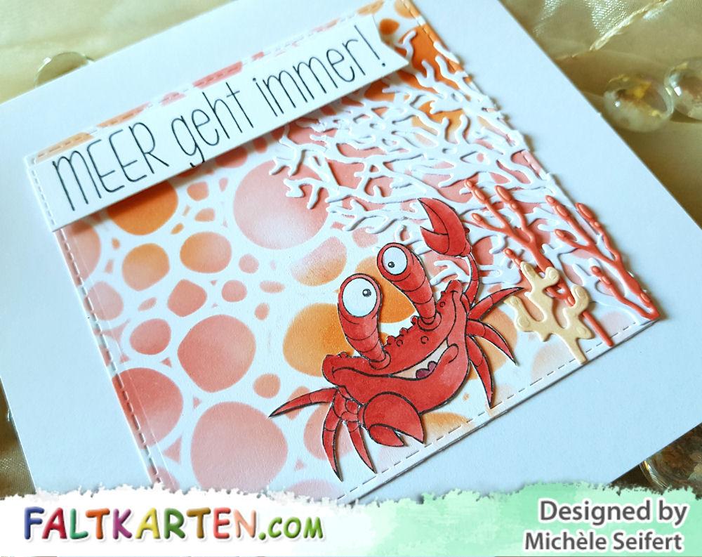 Stamp Coner - Krebs - Krabbe - Meer geht immer - JM Creation - Koralle - Grusskarte