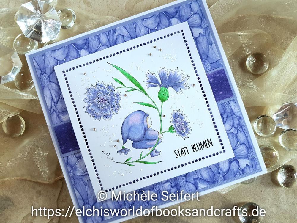 Stamping Bella - Bundle Girl with a Cornflower - Creative Depot - Statt Blumen - Grusskarte - Copics