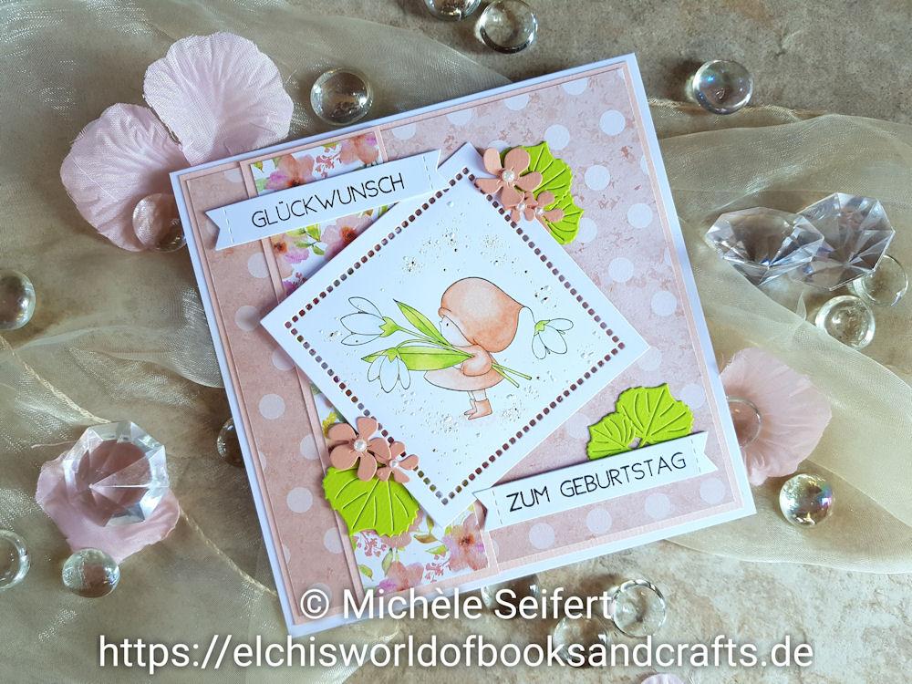 Stamping Bella - Bundle Girl with a Snowdrop - 4enScrap - Feuilles d'automne - Feuilles exotiques - Copics - Geburtstagskarte - Birthdaycard