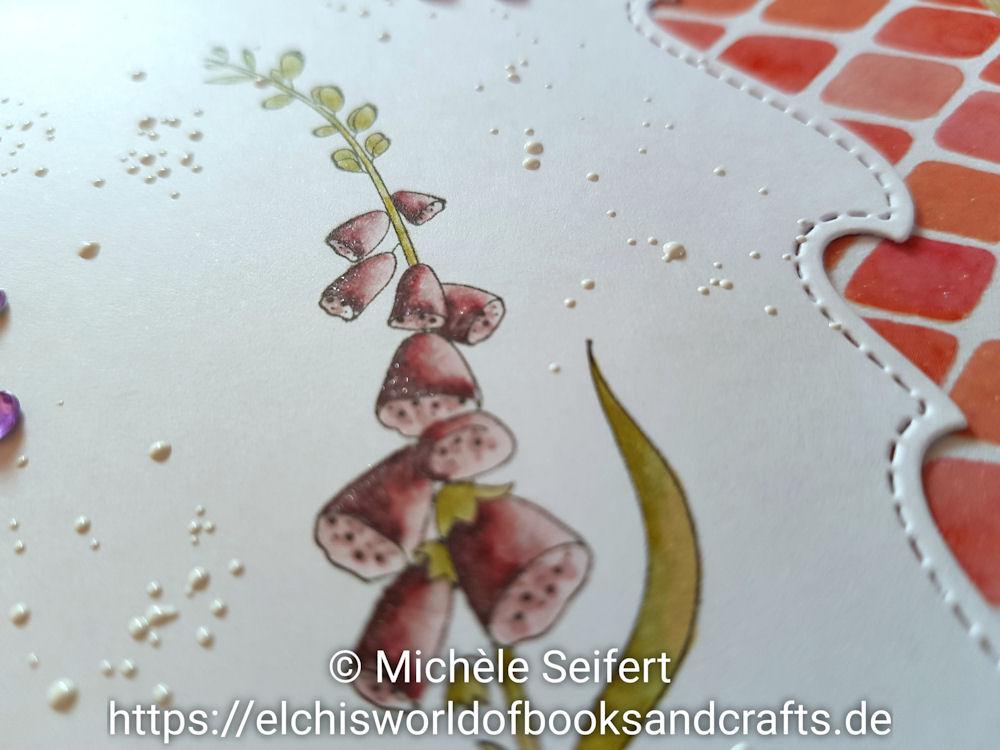 Stamping Bella - Bundle Girl with a Foxglove - Charlie und Paulchen - Von Herzen - Lawn Fawn - Stitched Wave Borders - Copics - Grusskarte