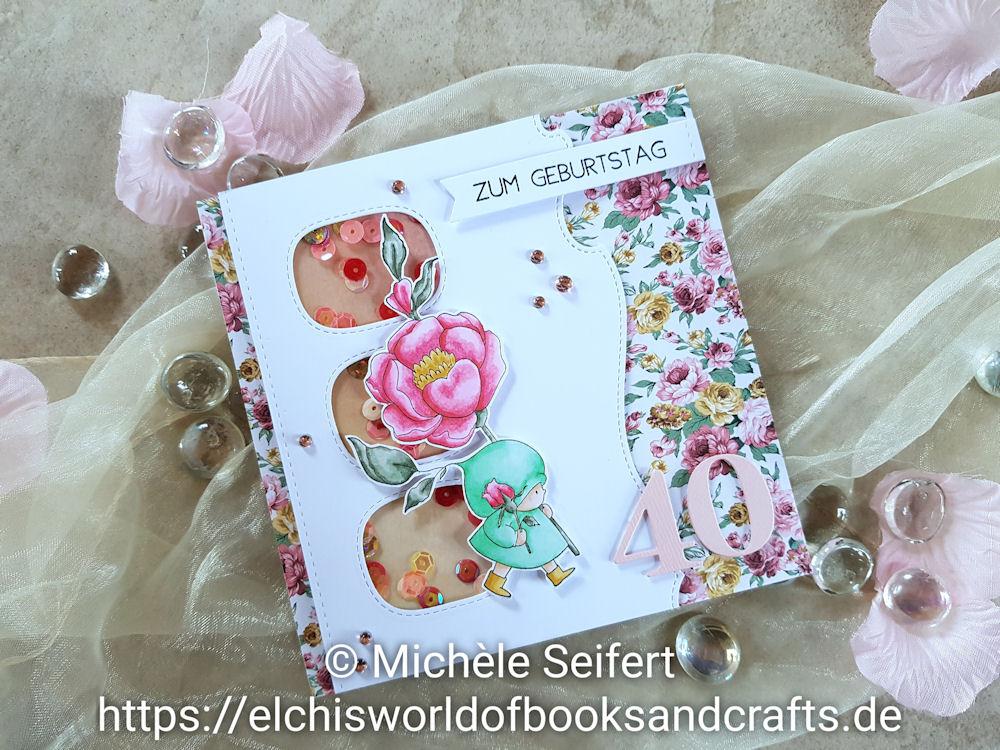 Stamping Bella - Bundle Girl with a Rose - Die-Namics - Stitched Triple Peek-a-Boo Window - Copics - Geburtstagskarte