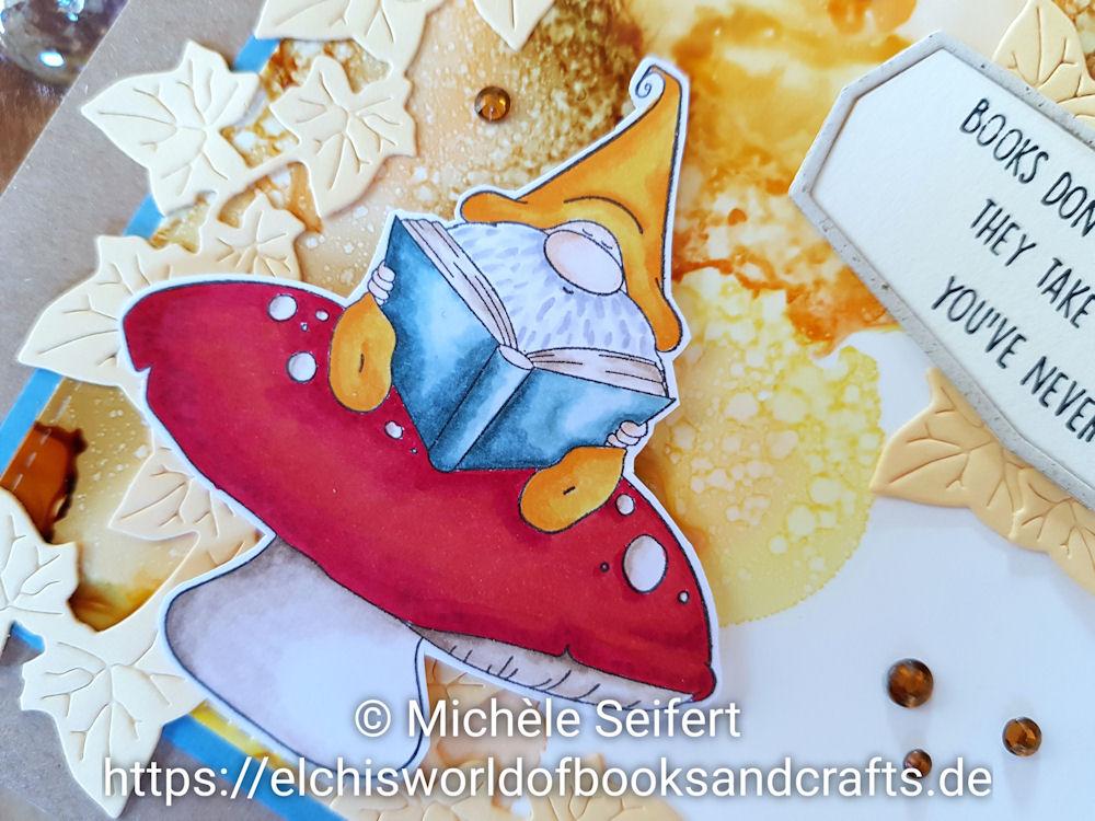 Stamping Bella - Rading Gnome - Mes P'Tits Ciseaux - Lierre - Efeuranke - Copics - Alcohol Inks - Latte - Sandal - Lemonade - Peach Bellini - 4enScrap - Cadres #7 - Grusskarte