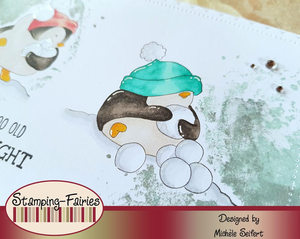 Stamping Bella - Snowfight Penguins - Grusskarte