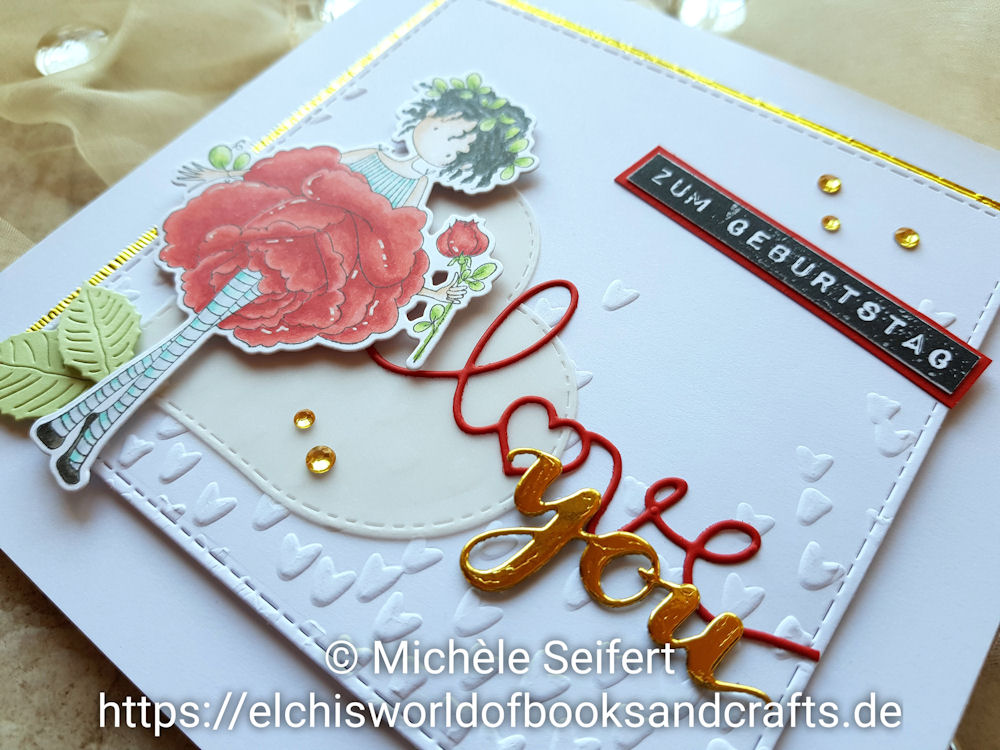 Stamping Bella Tiny Townie Garden Girl Rose - Kartenkunst - Labelmaker zum Geburtstag - 4enScrap Feuilles de Cerisier - Create A Smile You Twice - Geburtstagskarte