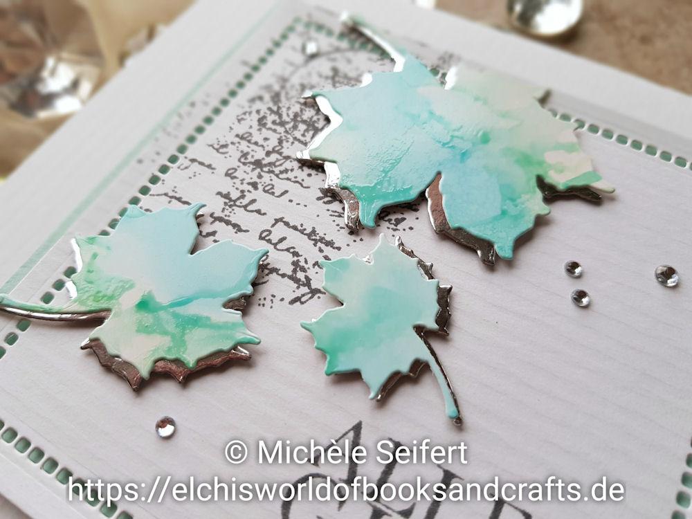 Steckenpferdchen - Blätterset - Alles Gute - 4enScrap - Fonds texte - Alcohol Inks - Grusskarte