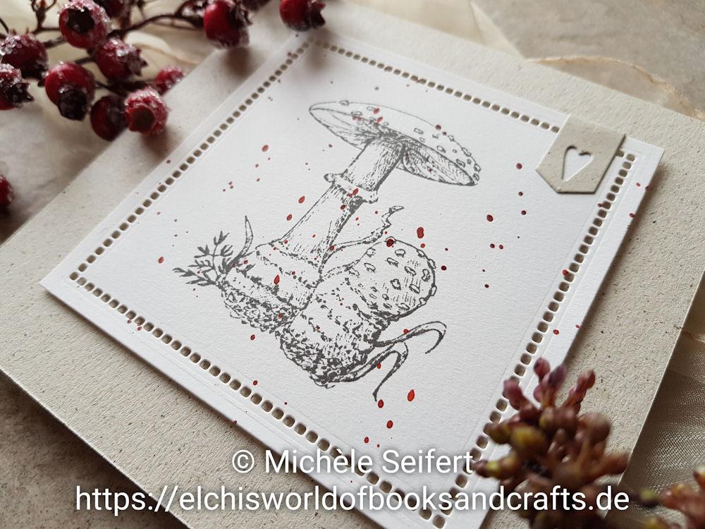 Steckenpferdchen - Pilzpaar XL - Lochverstärkertrio - Faltkarten.com - Graskarton - Naturkarte - Herbstkarte - Grusskarte