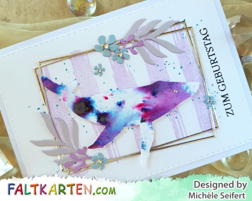Steckenpferdchen - Wal - Sizzix - Geo Floral Frame - Blumenrahmen - Simply Graphic - Planche Grunge - Creative Depot - Glückwünsche - 4enScrap - Feuilles exotiques - Nuvo Shimmer Powder - Violet Brocade - Geburtstagskarte - birthdaycard