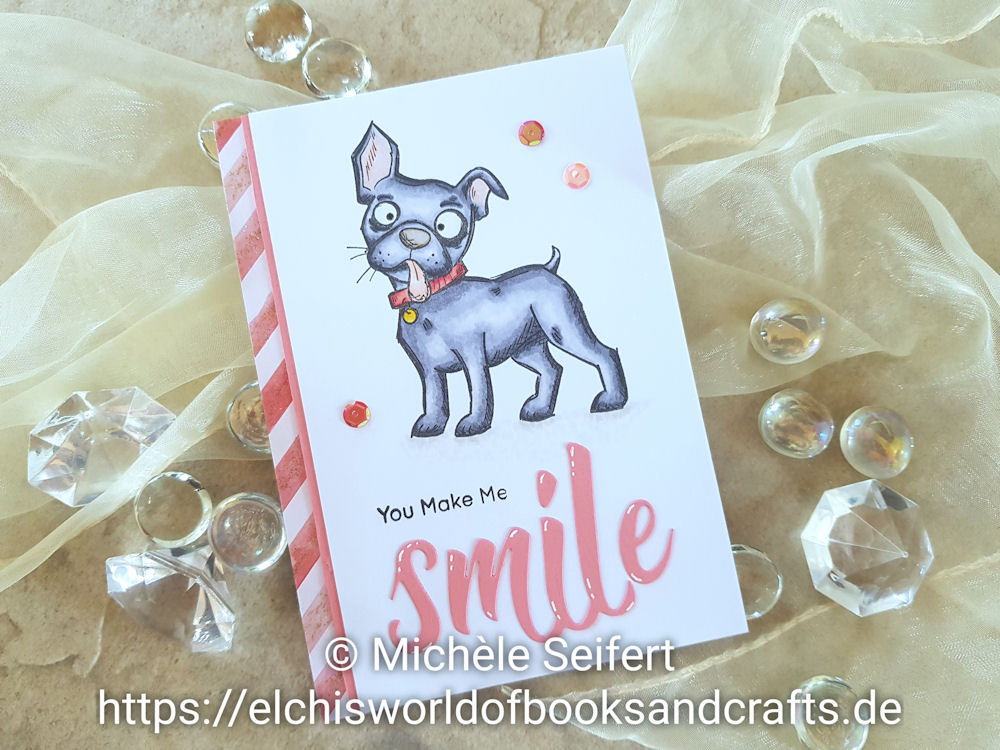Stampers Anonymous | Tim Holtz | Crazy Dogs | Pinkfresh Studio | Smile | Grusskarte
