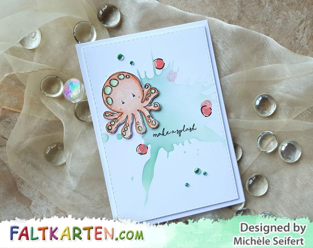 Tracey Hey - Make A Splash - Splotch - Stencil- Create A Smile - Distress Oxide - Grusskarte