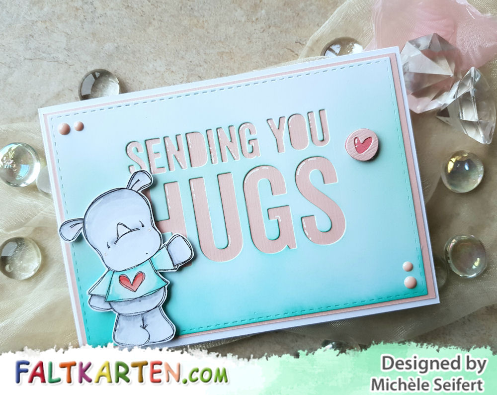 Tracey Hey - Rhino Rascals - Die-Namics - Sending You Hugs - Grusskarte