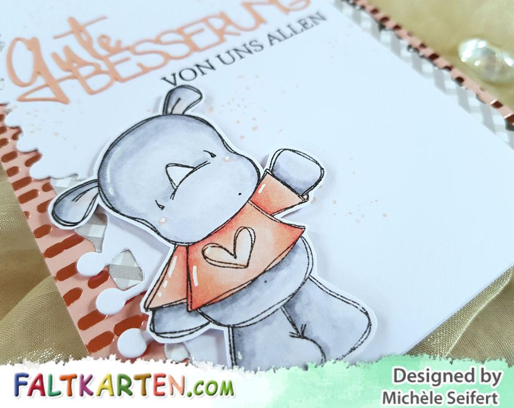 Hampton Art - Tracey Hey - Rhino Rascals - Charlie und Paulchen - Gute Besserung - Karte