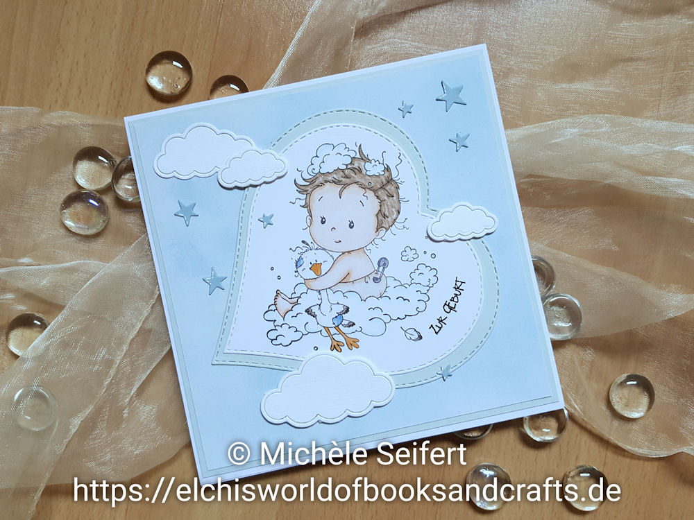 Whimsy Stamps - New Baby - Die-Namics - Cute Cloud Outlines - Babykarte - Baby Card